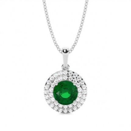 Prong Setting Round Emerald Halo Pendent