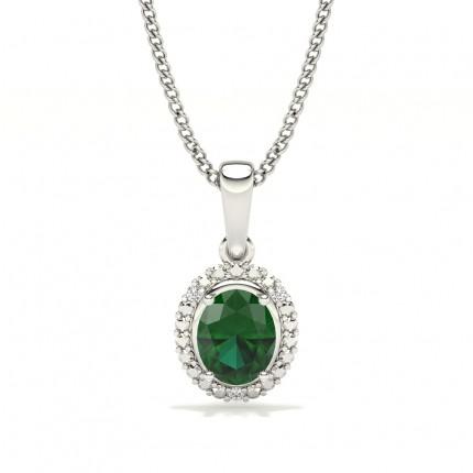 4 Prong Setting Oval Halo Emerald Pendant