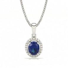 4 Prong Setting Oval Halo Blue Sapphire Pendant