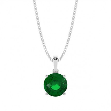 4 Prong Setting Round Emerald Pendent