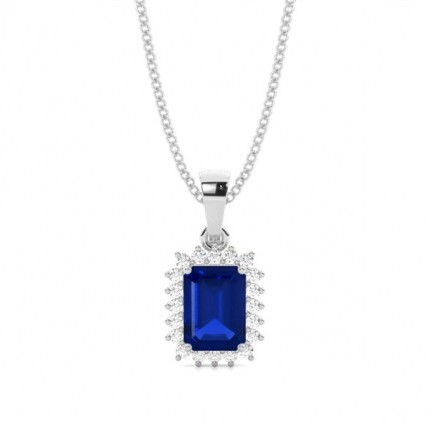 Prong Setting Blue Sapphire Pendent