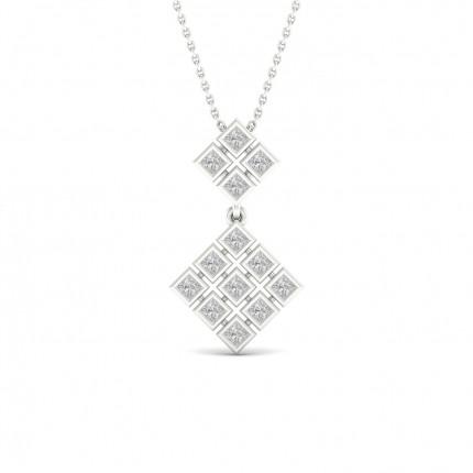 Bezel Setting Princess Diamond Designer Pendants