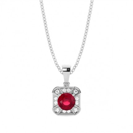 Prong Setting Ruby Halo Pendent