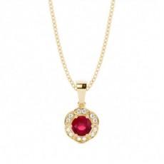 Round Ruby Pendants