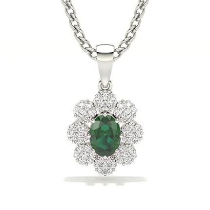 Invisible Prong Setting Halo Emerald Pendant