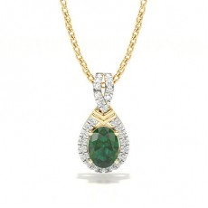 Yellow Gold Emerald Pendants