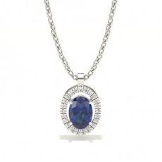 Oval Halo Pendants Necklaces