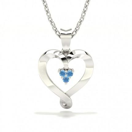 Prong Setting Blue Sapphire Heart Pendant