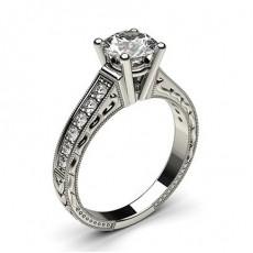Bague de fiançailles vintage large épaulée diamant serti 4 griffes rondes et pavé