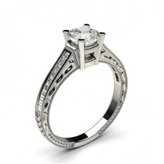 White Gold Cushion Vintage Diamond Engagement Ring