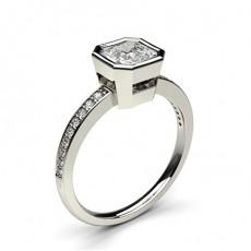 Diamant Verlobungsring in einer halben Zargenfassung mit dünnen Schulter Diamanten