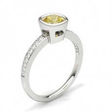 Bezel Side Stone Yellow Diamond Engagement Ring