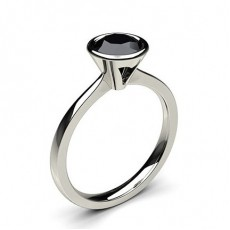 Full Bezel Setting Thin Engagement Black Diamond Ring