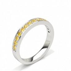 Alliance demi tour diamant jaune rond