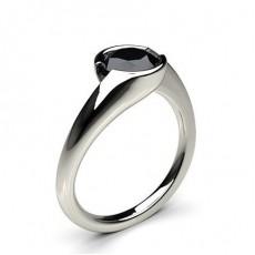 Schwarzer Diamant Verlobungsring in einer Halbzargenfassung