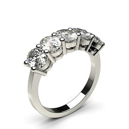 4 Prong Setting Plain Five Stone Ring
