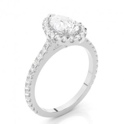 Prong Setting Halo Diamond Engagement Ring