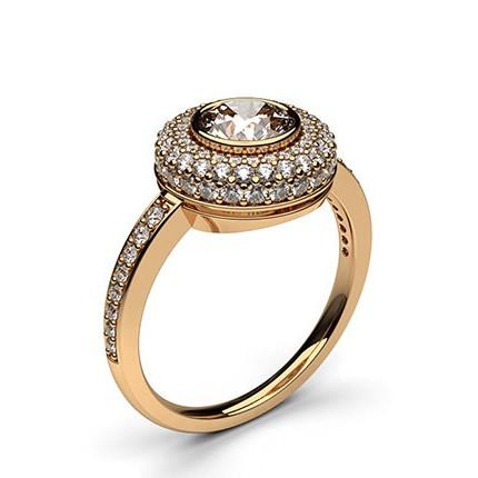 Multi Diamant Verlobungsring in einer Zargenfassung mit Schulter Diamanten