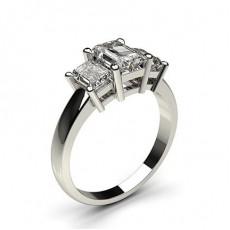 Smaragd Diamond Rings Three Stone