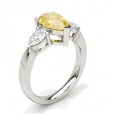 Bague 3 Pierres Diamant jaune poire Serti 3 Griffes