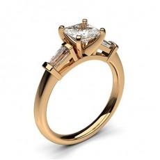 Rose Gold Diamond Rings Three Stone