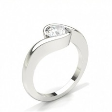 Bague de fiançailles solitaire diamant princesse serti 4 griffes