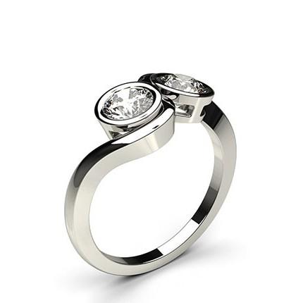 Full Bezel Setting Plain Two Stone Ring