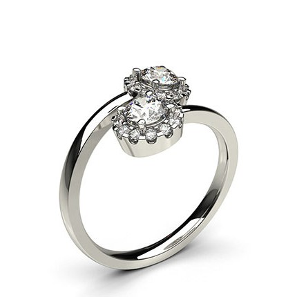 4 Prong Setting Side Stone Two Stone Ring