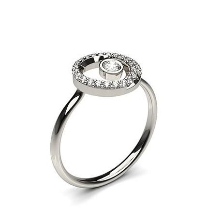 0.20ct. Full Bezel & Prong Setting Round Diamond Promise Ring