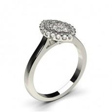 Full Bezel & Pave Setting Round Diamond Cluster Ring