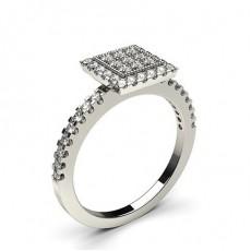 Runder Diamant Cluster Ring in einer Krappen und Pave Fassung