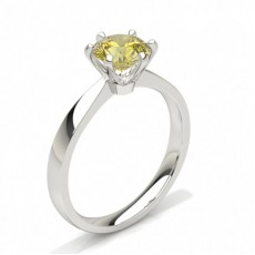 6 Prong Yellow Diamond Solitaire Engagement Ring