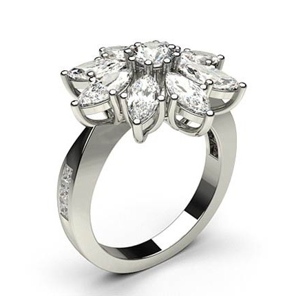 Prong Setting Round & Marquise Diamond Cluster Ring
