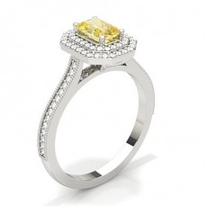 Smaragd Gelber Diamant Verlobungsringe