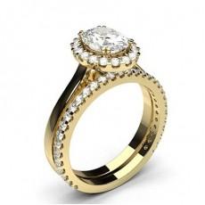 Gelbgold Schulter Diamanten mit passendem Verlobungsringe