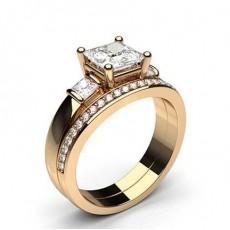 Rotgold Schulter Diamanten mit passendem Verlobungsringe