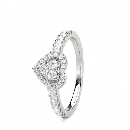 4 Prong Setting Round Diamond Cluster Ring