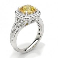 Kissen Gelber Diamant Verlobungsringe