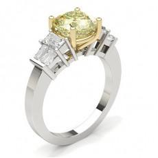 Bague de fiançailles solitaire diamant jaune serti 4 griffes