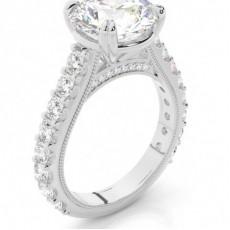 Bague de fiançailles à diamant rond serti 4 griffes