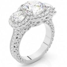 Bague de fiançailles halo diamant en or blanc