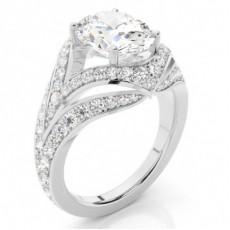 Bague de fiançailles à diamant ovale sertie de 4 griffes