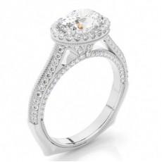 Bague de fiancailles en or blanc avec diamants