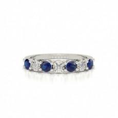 Blauer Saphir 4 Prong Halben Ewigkeit Ring