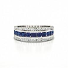 Round And Princess Half Eternity Blue Sapphire Ring