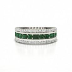 Round And Princess Half Eternity Emerald Ring
