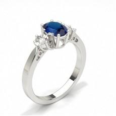Oval Gemstone Diamond Rings