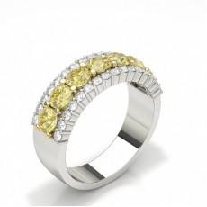 Runder gelber Diamant-Ring der halben Ewigkeit