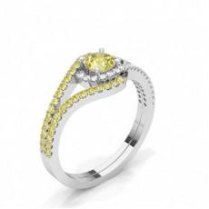 Bague de fiançailles epaulee diamant jaune rond