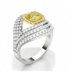 Bague de fiançailles epaulee halo diamant jaune rond